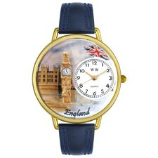 Unisex England Navy Blue Leather and Gold Tone Watch