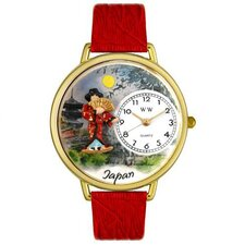 <strong>Whimsical Watches</strong> Unisex Japan Red Leather and Gold Tone Watch