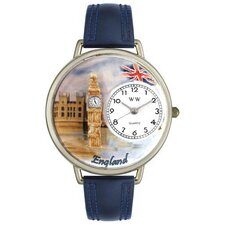 Unisex England Navy Blue Leather and Silver Tone Watch