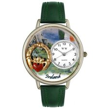 Unisex Ireland Hunter Green Leather and Silver Tone Watch