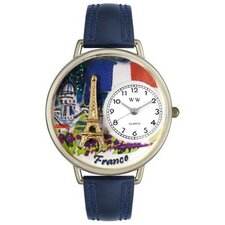 Unisex France Navy Blue Leather and Silver Tone Watch
