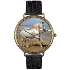 Unisex Andalusian Horse Photo Watch with Black Leather