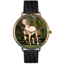 Unisex Quarter Horse Photo Watch with Black Leather