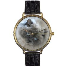 Unisex Himalayan Cat Photo Watch with Black Leather