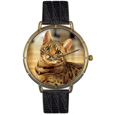 Unisex Bengal Cat Photo Watch with Black Leather