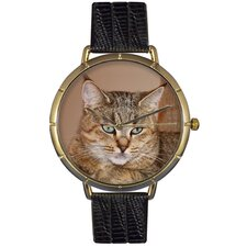 Unisex Pixie Bob Cat Photo Watch with Black Leather