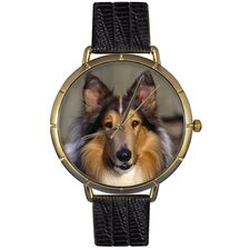 <strong>Whimsical Watches</strong> Unisex Collie Photo Watch with Black Leather