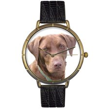 Unisex Chocolate Labrador Retriever Photo Watch with Black Leather