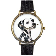 Unisex Dalmatian Photo Watch with Black Leather