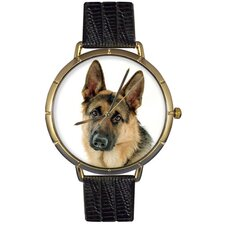 Unisex German Shepherd Photo Watch with Black Leather
