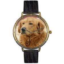 Unisex Golden Retriever Photo Watch with Black Leather