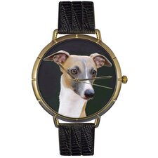 Unisex Greyhound Photo Watch with Black Leather