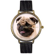 <strong>Whimsical Watches</strong> Unisex Pug Photo Watch with Black Leather