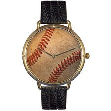 Unisex Baseball Lover Photo Watch with Black Leather