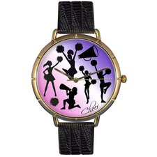 Unisex Cheerleading Lover Photo Watch with Black Leather