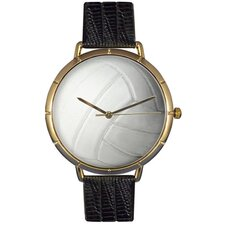 Unisex Volleyball Lover Photo Watch with Black Leather