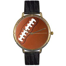 Unisex Football Lover Photo Watch with Black Leather