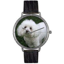 Unisex Bichon Photo Watch with Black Leather