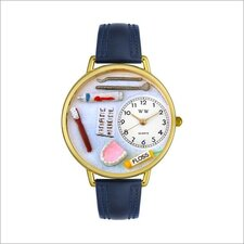 Unisex Dentist Navy Blue Leather and Goldtone Watch in Gold