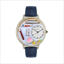 Unisex Dentist Navy Blue Leather and Silvertone Watch in Silver