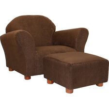 Roundy Microsuede Kid's Novelty Chair & Ottoman Set