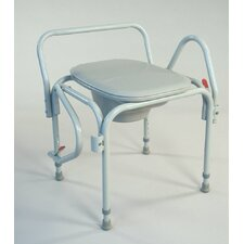 Drop Arm Elongated Seat Commode in Dove Gray