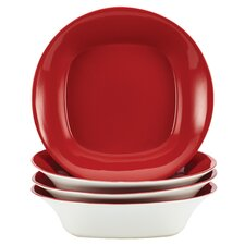 Dinnerware Round and Square 4-Piece Soup and Pasta Bowl Set