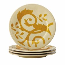 Gold Scroll Round Appetizer Plate Set (Set of 4)
