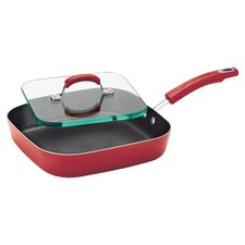 "Porcelain II Nonstick 11"" Griddle with Glass Sandwich Press"