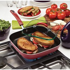 "Porcelain II Nonstick 11"" Square Deep Griddle with Glass Sandwich Press"