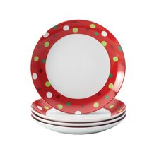 "Hoot's Decorated Tree 6.75"" Polka Dots Appetizer Plate (Set of 4)"