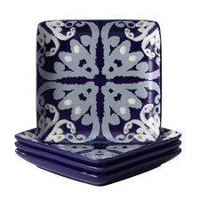 "Ikat 6"" Square Appetizer Plate: Set of (4) (Set of 4)"