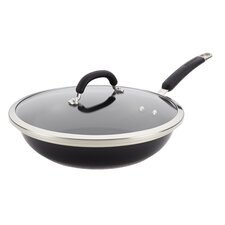 "Stainless Steel Colors 12"" Covered Non-Stick Deep Skillet"