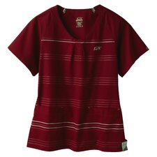 5677 2-Pocket MedFlex II Stripe Top in Merlot