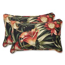 <strong>Pillow Perfect</strong> Botanical Glow Ebony ectangular Throw Pillow (Set of 2)