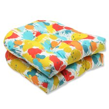 Paint Splash Wicker Seat Cushion (Set of 2)