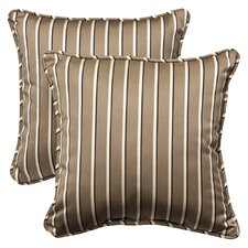 <strong>Pillow Perfect</strong> Outdoor Square Sunbrella Fabric Toss Pillow (Set of 2)