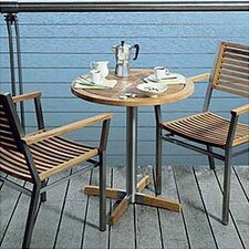 Equinox Circular Steel and Teak Bistro Table
