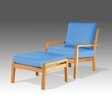 <strong>Barlow Tyrie Teak</strong> Avon Deep Seating Chair and Ottoman with Cushions