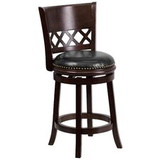 <strong>Flash Furniture</strong> 24'' Wood Counter Stool with Leather Swivel Seat