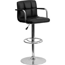 Contemporary Quilted Vinyl Adjustable Height Bar Stool with Arms