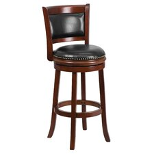<strong>Flash Furniture</strong> 29'' Wood Bar Stool with Leather Swivel Seat