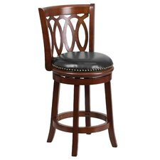 24'' Wood Counter Stool with Leather Swivel Seat
