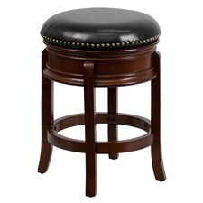 <strong>Flash Furniture</strong> 24'' Backless Wood Counter Stool with Leather Swivel Seat