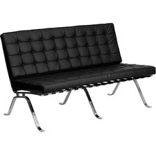Hercules Flash Series Leather Love Seat with Curved Legs