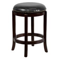 24'' Backless Wood Counter Stool with Leather Swivel Seat