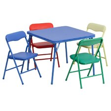 Kids 5 Piece Folding Square Table and Chair Set