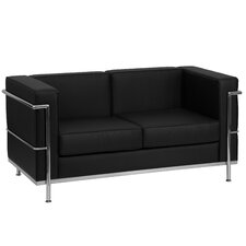 Hercules Regal Series Leather Love Seat with Encasing Frame