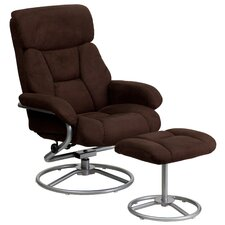 Contemporary Microfiber Recliner and Ottoman