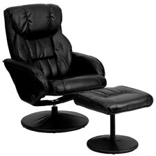 Contemporary Leather Recliner and Ottoman